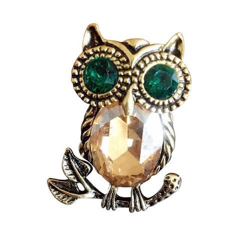 Vintage Bronze Animals Owl Brooch Pin For Women Rhinestone Crystal Up Brooches Collar Costume Bronze Owl Brooch Jewelry Fashion