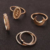 5Pcs Antique Gold Color Rings Set Knuckle Finger Midi Rings for Women Boho Bague Femme Lady Charm Costume Jewelry Accessories