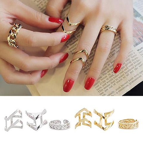 3Pcs/Set Women's Arrow Hollow Midi Knuckle Open Finger Ring Band Ring Set Lady Charm Costume Jewelry Accessories Midi Rings