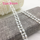 New 1 Yards Pearl Jewelry Chain Sew On Trims Wedding Dress Costume Applique Jewelry Making DIY