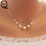 Fashion Simulated-pearl Chokers Necklace for Women Party Costume Collar Jewelry Silver Color Charms Necklace valentines day gift