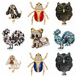 Rinhoo 9 style Natural animals Brooch pins owl dog chicken insect cat Brooches For women Crystal Costume Jewelry