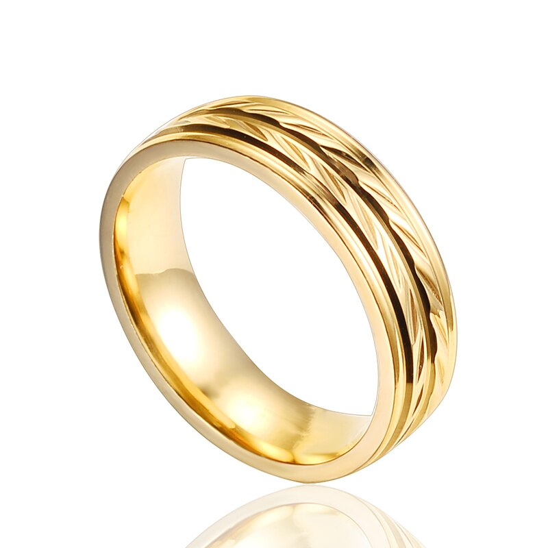 QianBei Fashion Women Leaf Gold Color Rings Stainless Steel Rings For Men Kids Wedding Jewelry Jewelry Size 7-11