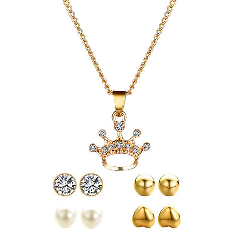 Crown Jewelry Set for women Elegant Party Gift Fashion Costume Jewelry Set High Quality Charm Long Necklace Pendant Earrings Set