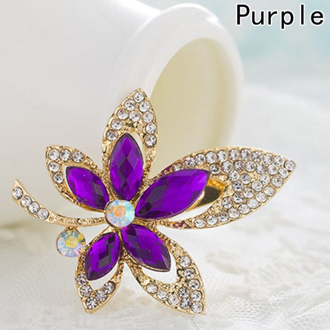 1 pc 2 Colors Crystal Rhinestone Maple Leaf Brooch Pin Plant Costume Jewelry For Women Brooch
