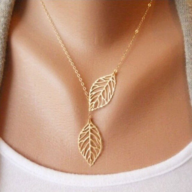 Lucky Double Leaf Necklaces Silver/Gold Metal Leaf Pendant Necklace Chain Costume Jewelry for Women Girl Wedding Party