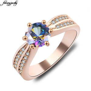 Design Women Double cubic zircon rose gold/silver laying For Women Ring Wedding Party Birthday Elegant Fashion jewelry 2017 New