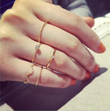 Women Ring Girls Gold Silver Retro Fashion Jewelry Trend Gift Vintage Ring Set Combination Boho New Wavy 5 piece set