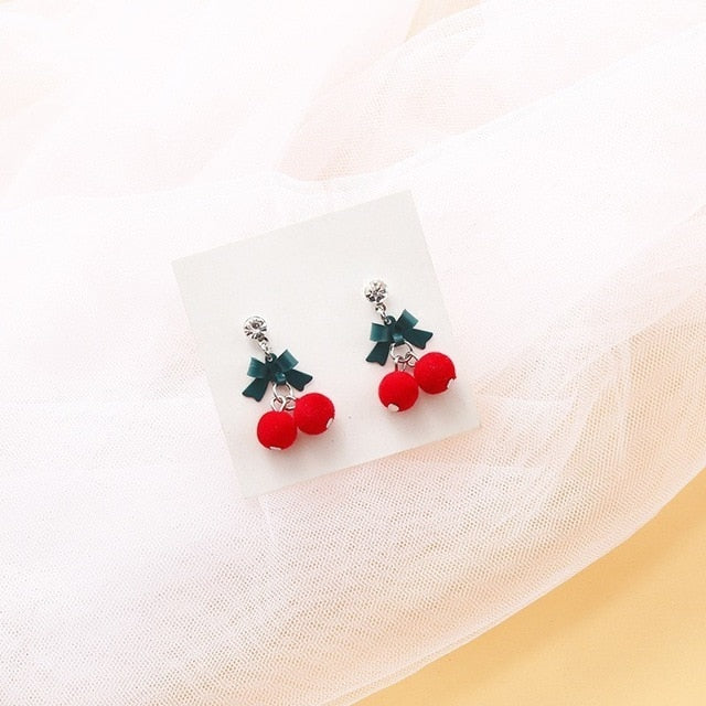 Korea Cute Fruit Cherry Drop Earrings For Women Girls Kids Jewelry Trendy Crystal Acrylic Resin Enamel Earrings Gifts 2019 New