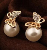 happy shopping!! 2019 Fashion Gold Crystal Stud Earrings Brincos Perle Pendientes Bou Pearl Earrings For Woman charm