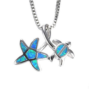 2019  Arrival Cute Silver Filled Ocean Beach Jewelry Blue Opal Sea Turtle 1PC Allergy Free Adjustable Pendant Necklace