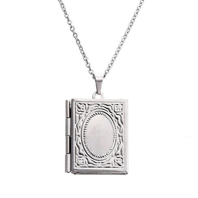 1pc Carved Designs Round Photo Frame Pendant Necklace Stainless Steel Charms Locket Necklaces Women Men Fashion Memorial Jewelry