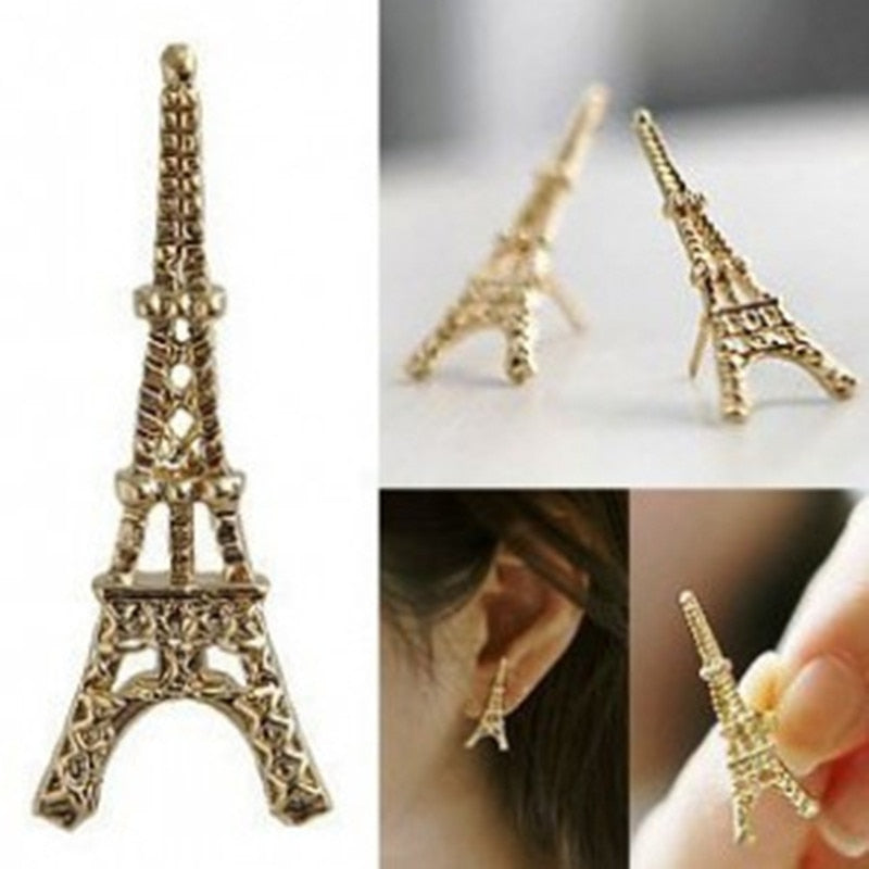 Women's Fashion Simple Long Statement Earrings Bijoux Hot Trendy Vintage Retro Eiffel Tower Earrings For Women Jewelry