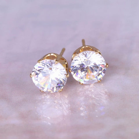 2019 New Fashion Round Favorite Design Gold Color Studded rhinestone Crystals gold color Stud Earring For Women