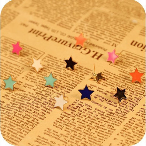 New Fashion  Korean jewelry cute candy-color fluorescent color pentacle star Earrings
