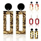 1Pair New Fashion 11 Colors Circle  Acrylic Print Square Tassel Geometric Turtle Color Leopard Long Drop Earring