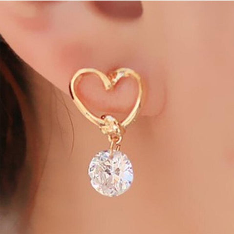 European and American heart-shaped hollow ear pendant zirconium stone ear nail lovely pendant Korean earrings female jewelry