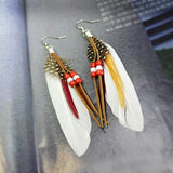 1 Pair Bohemia Womens Vintage Dangle Earrings Exaggeration Feather Beads Big Drop Earring Fahion Tassel Hyperbole Jewelry