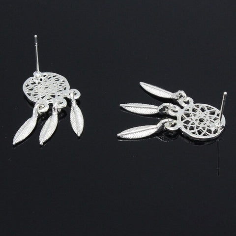 New Fashion Bohemia Nationality Feather  Dreamcatcher Drop Earrings For Women High Quality Jewelry  Silver color