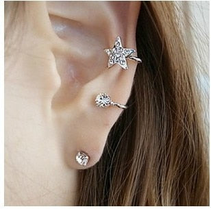 Silver/Gold Rhinestone Heart Star earrings