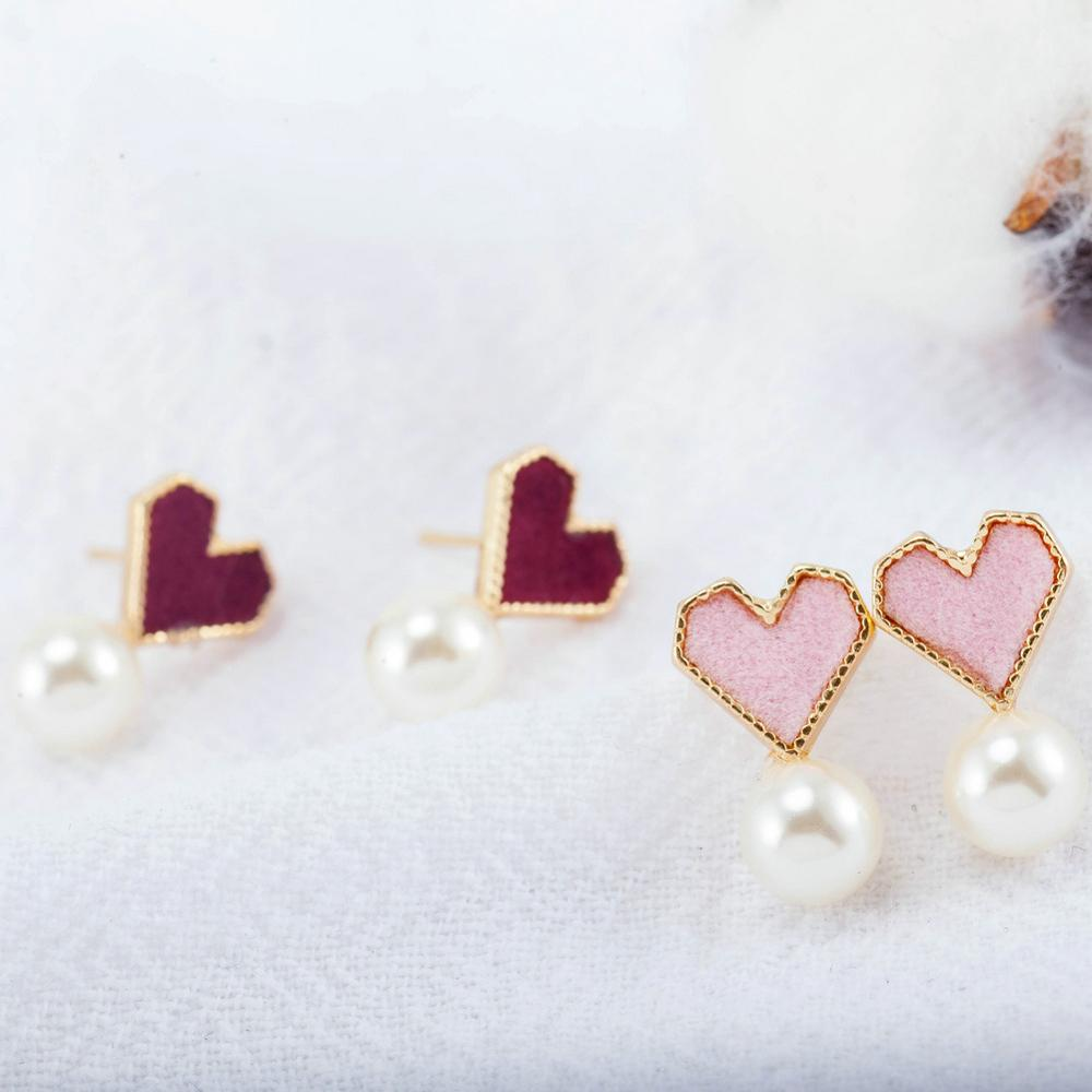 Earrings For Women Girls Simple Charm Fashion Jewelry Pearl Heart Golden Gift Cute Trend Charm Lovely Stud earring