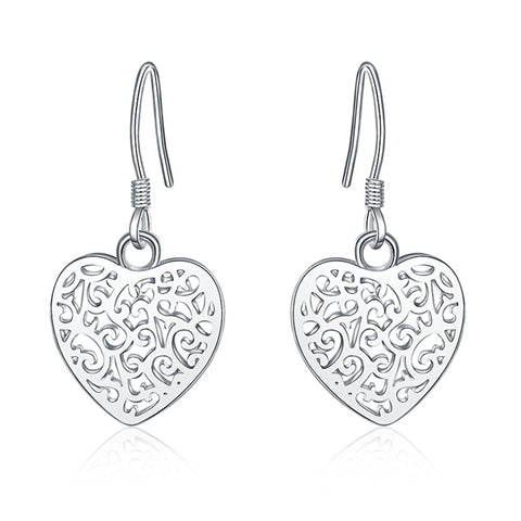 Silver Cute Heart Charm Earrings