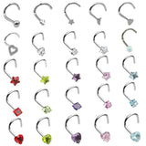 BOG-1PC 20G Steel Nose Rings CZ Opal Piercing Nose Screw Curved Prong Nose Stud Rings Nariz Earrings Nostril Piercing Jewelry