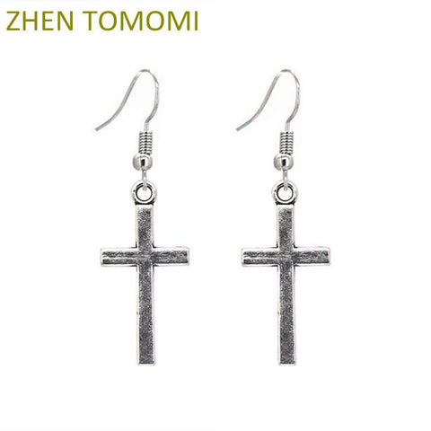 Hot Sale Fashion Silver Color Retro Gothic Cross Statement Long Dangle Drop Earrings for Women Jewelry Bijoux Oorbellen Brincos