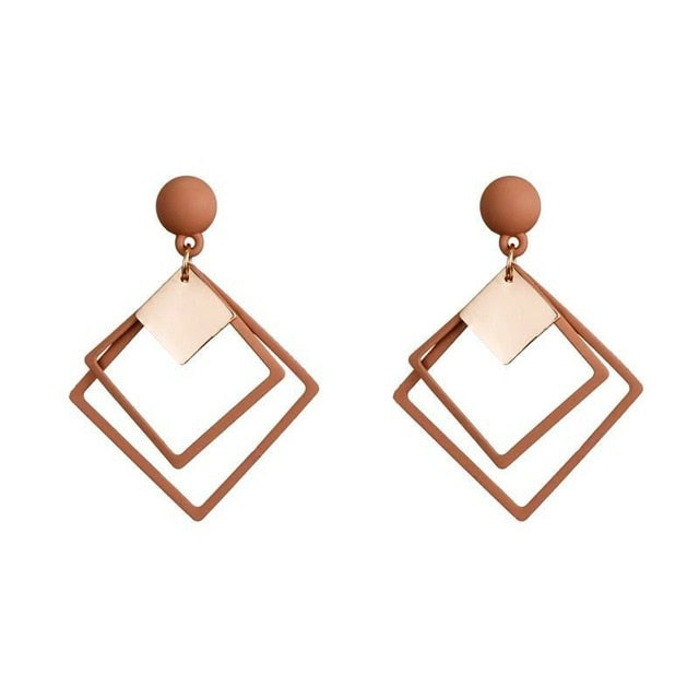 Trendy Elegant Geometric Drop Earrings for Women Fashion Jewelry Gold Silver Earrings Gift for Party Best Friend