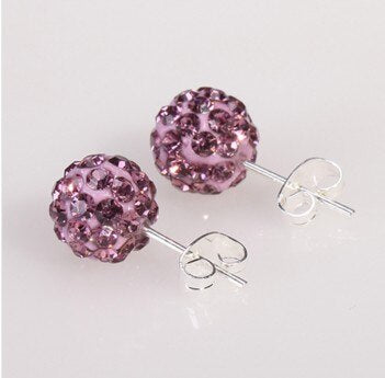 19 Color 10MM Rhinestone Earrings Micro Disco Ball Crystal Stud Earring For Women Fashion Jewelr