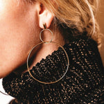 Irregular Black/Gold/Silver Statement Earrings
