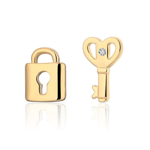 Lock Key Korean Earrings Silver Gold Simple Gold Silver Tiny Cute Small Earrings For Women  Fashion Jewelry 2019 za pendientes