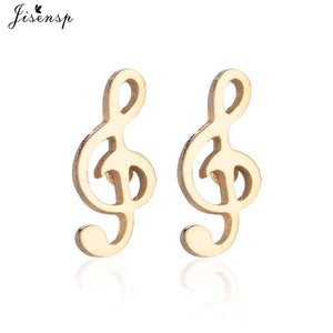 Jisensp Vintage Musical Notes Earrings Stainless Steel Jewelry Earings for Women Accessory Mini Stud Earrings