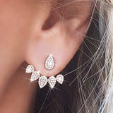 2019 New Fashion Crystal Front Back Double Sided Stud Earrings For Women Piercing Jewelry Leaf Shape Earing Bijoux Brincos