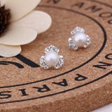 Mossovy Clover Cubic Zirconia Silver Stud Earrings for Women Fashion Popular Simulated Pearl Earrings Female Jewelry Aretes De Mujer