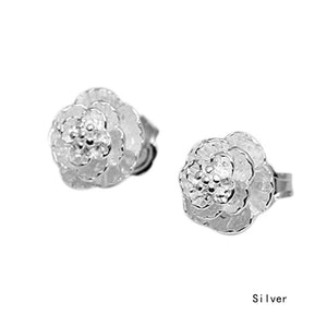 Fashion Romantic Flower Pattern Ear Stud Clip Fine Jewelry Silver Plated Alloy Earrings Gift Women 1 Pair EAR-0423-SV