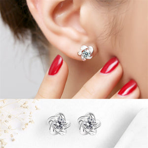 Crystal Flower Stud Earrings for Women Female 2019 Boucle d'oreille Simple Earring Silver Plated Bijoux Jewelry Birthday Gift