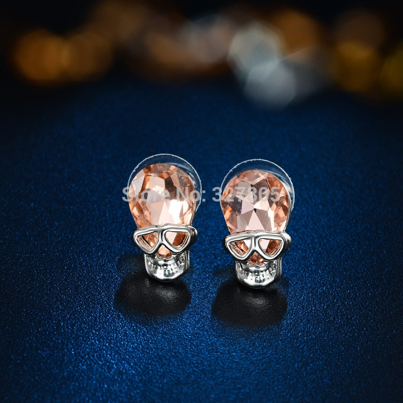 Clearance Sale Punk Champagne Stud Earrings for Women Gift Cubic zircon Silver Party Small Earring