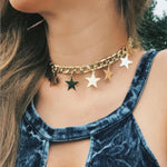 Necklace For Women Sexy Fashion Pop Silver Gold Charm Necklace Collar Set Multilayer Necklace Beach Cute Star Bodomia