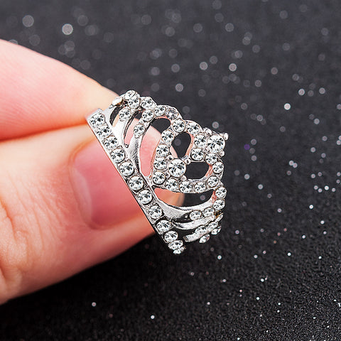 2019 New Fashion Silver Crown Shape Rhinestone Crystal Rings Women Girl Wedding Bridal Party Ring Jewelry