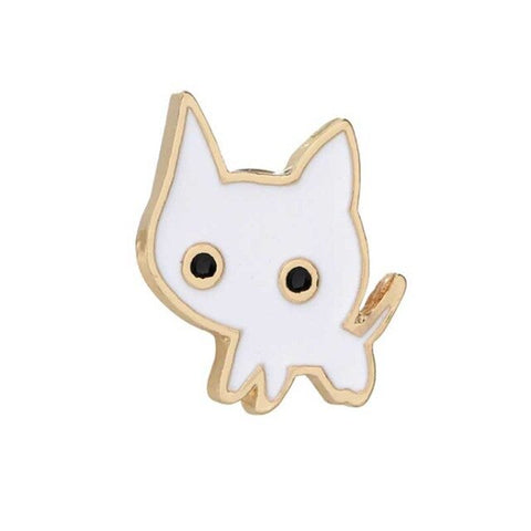 Alloy Cute Little Black White Cat Brooch Pins Chic Fashion Naughty Kitten Bijoux Brooches Women Jewelry