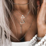 Seblasy Hot Sale Party Jewelry Multi Layer Triangles Moon Stars Water Droplets Crystal Chain Necklaces for Women Statement Gifts
