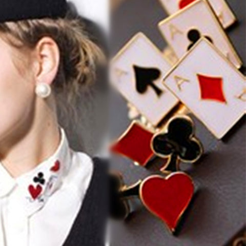 2019 HOT  jewelry cute and funny modern poker suit small brooch / collar Poker brooch unique gifts