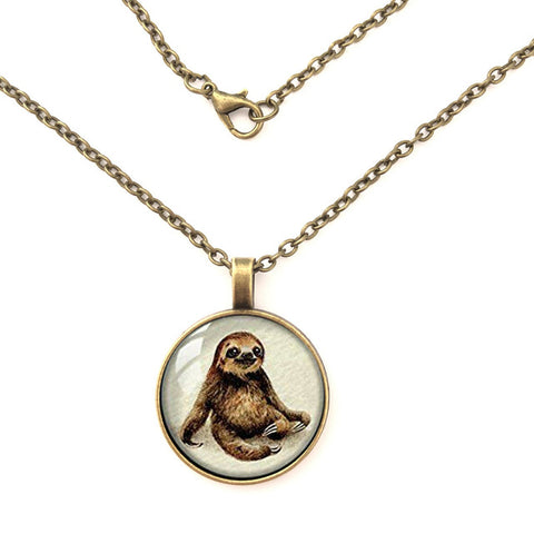 Retro Style Handmade Glass Dome Necklace, Sloth Jewelry Necklace ,charm Necklace