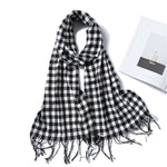 Plaid Winter Cashmere Scarf with Tassels