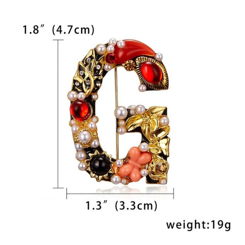 Rinhoo Luxury Pearl Rhinestone Letter Brooch Painting Oil Gold Flower Brooch Pin for Women Girls Creative Jewelry Accessories