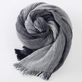 Warm Soft Tassel Winter Scarf Gray Plaid Woven Wrinkled Cotton
