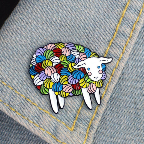 lovely Fashion Colorful Cartoon Sheep Enamel Lapel Pin Badge Brooch Denim Jewelry