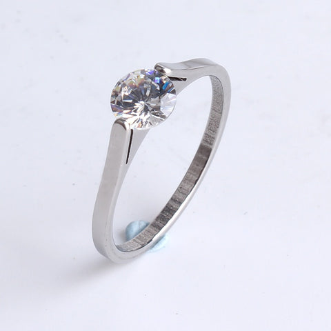 1MM wide silver clip zircon 316l Stainless Steel finger rings for women