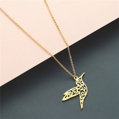 Boho Statement Necklace Women Stainless Steel Jewelry Wolf Phoenix Yoga Ballet Sports Gold Chain Necklace Pendant Girls Gift